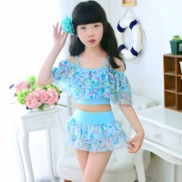 Girls Two Pieces Suits For Swimming Children Polyester Swimwear Kids Floral Bathing Suit Swim Wear Big Girl Swimsuits 3-15 Years