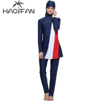 HAOFAN Women Stripe Printed Muslim Swimwear Hijab Muslimah Islamic Plus Size Swimsuit Swim Surf Wear Sport Burkinis 5xl 6XL