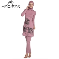 HAOFAN 2018 Plus Size Muslim Swimwear Women Modest Floral Print Full Cover Swimsuit Islamic Hijab Islam Burkinis Beachwear Bath