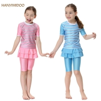 HANYIMIDOO Muslim Girls Swimsuits Short Sleeve Two Piece Swimwears Islamic Children Beach Surf Wear Swimming Suit H