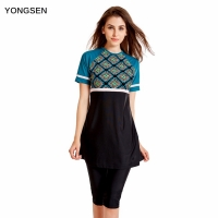 YONGSEN Muslim Swimwear Women Modest Patchwork Full Cover Short Sleeve Swimsuit Islamic Hijab Islam Burkinis Wear Bathing Suit