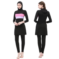 2pcs/set Muslim Women Swimwear Stripe Printed Islamic Hoodie Swimsuit Plus Size Summer Beach Bathing Suit