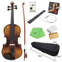 ammoon AV-508 4/4 Full Size Acoustic Violin Fiddle Kit Solid Wood Matte Finish Spruce Face Board 4-String Instrument