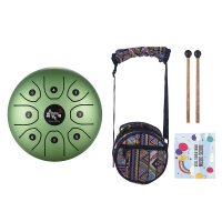 5.5 Inch C Key Tongue Drum Mini 8-Tone Steel Hand Pan Drum Percussion Instrument with Drum Mallets Carry Bag