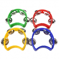 Musical Instrument Hand Held Tambourine Metal Bell Jingles Plastic Rattle Ball Percussion for KTV Party Kid Game Toy