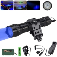 Led Hunting Light Tactical Flashlight+Optional Rechargeable 18650 Battery&Charger Torch Gun Scope Mount Remote Pressure Switch