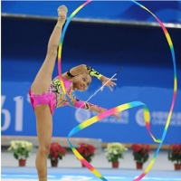 4M Dance Ribbon Gym Rhythmic Art Gymnastic Ballet Streamer Twirling Rod Colorful Polyester Ribbons 1PC