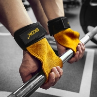 Pro Lifting Grip Leather Gymnastics Weight Lifting Grips Anti-Skid Gym Fitness Gloves Crossfit Trainining+1 Bracelet Gift