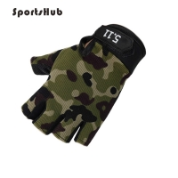 SPORTSHUB Anti-skid Half Finger Gym Gloves Body Building Training Wrist Glove for Dumbbell Fitness Exercise Weightlifting NR0119