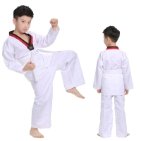 White Cotton Taekwondo Uniforms WTF Karate Judo Taekwondo Dobok Clothes Children Adult Unisex Long Sleeve TKD Clothing