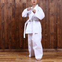 White Karate Uniform with Belt Light Weight Elastic Waistband & Drawstring for Children Student Breathable Training Suit Sport