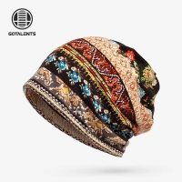 Beanies Cap Scarf Simple Style Printed Sunshade Breathable Elastic Cotton Hat Neck Warmer Shopping Hiking Travel Headwear