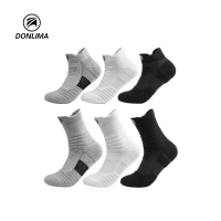 Running Socks Sports Basketball Football Cycling Men Women Anti Slip Breathable Moisture Wicking Thick Black Seamless Athletic