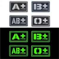 Black Team Sports souvenirs PVC A+ B+ AB+ O+ Positive A- B- AB- O- Negative Blood Type Group Patch Stickers Sewing Decals