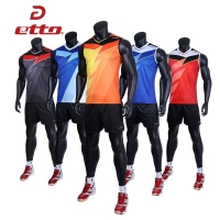 Etto Professional Men Sleeveless Jersey Volleyball Suit Sets Quick Dry Volleyball Team Uniforms Match Training Sportswear HXB023