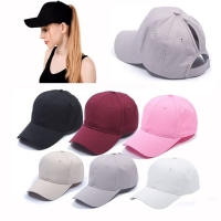 solid color Tennis Cap Women Sport Hat Summer Messy Bun Mesh Hats Adjustable Sport Running Cycling Caps for Drop Shipping