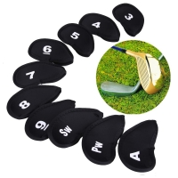 10Pcs Golf Head Covers Iron Putter Protective Black Window Golf Club Iron Head Protector Accessories Golf Head Cover Protector