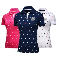 Female fashion Tops Apparel Lady PoLo Shirt S-XL Sportswear Golf Tennis Run Dry Fit Breathable Women Short Love tShirt Clothes