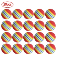 20Pcs 38mm EVA Foam Soft Rainbow Stripe Golf Training Balls Swing Golf Club Beginner Practice Training Aids Ball Indoor