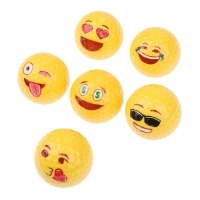 1PCS GOG Golf Balls Creative Emoji Emoticon Faces Golf Practice Balls fit Kids Beginner Training Playing 6 Patterns Yellow Balls