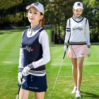 2019 New Golf Clothing Women Vest Spring Sleeveless V-neck British Style Sports Outdoor Team Uniform Competition