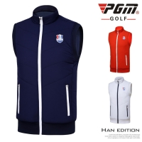 PGM Golf clothing Men Shirt Vest Autumn Winter Warm Sleeveless Plus Velvet Windproof Jacket Sports Wear Fitness Dry Fit Apparel