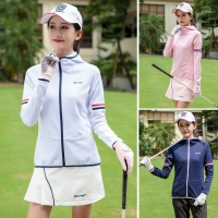 2019 Spring Golf Clothing Womens Shirt Long Sleeve Ball Jacket Hooded Zip Cardigan Sportswear High Quality Apparel