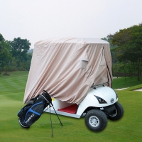 Tomshoo Golf Car Enclosure Pu Oxford Fabric Golf Car Cover Heavy Duty Uv Treated  2/4 Passenger Golf Cart Cover Roof Enclosure