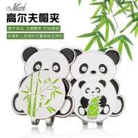 2 pcs GOG golf ball marker china lovely panda & bamboo shoots alloy marker + magnet hat / cap clips 2 kinds mother baby pandas