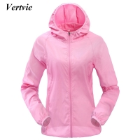 Vertvie Women Men Outdoor Sports Windproof Quick Dry Running Jacket Sunshade Breathable Rain Jacket Top Candy Color Thin Section
