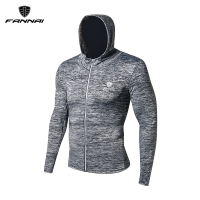 FANNAI Men running jacket Sports Long sleeves T Shirt Tight fitness Gym Soccer Reflective training  Coat Jogging Hooded Jackets