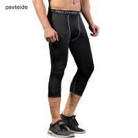 psvteide Compression Man Sport Capri Pants Men Sports Tights For Men Basketball Tights Male Compress Run Crossfit Leggings 3/4