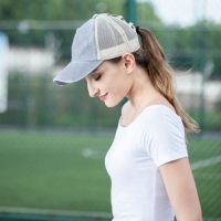 Women Running Tennis Cap Sport Summer Breathable Sun Protection Caps Messy Bun Mesh Hats Adjustable Sport Cycling Caps