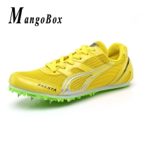 Big Boy Spike Running Shoes Mesh Track And Field Shoes Blue Red Green Sneakers Men Spikes Luxury Brand Girls Athletics Shoes