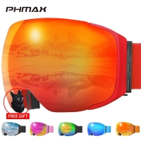 PHMAX Ski Goggles Magnetic Men Winter Anti-Fog Ski Glasses With Ski Mask Adult Double Layers UV400 Snowboard Goggles  Protection