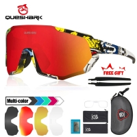 QUESHARK New Design Polarized Cycling Glasses For Man Women Bike Eyewear Cycling Sunglasses 3 Lens Mirrored UV400 Goggles MTB