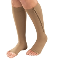 Women Zipper Compression Socks Comfortable Zip Leg Support Knee Sox Open Toe Sock S/M/XL New