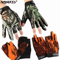 New Unisex Outdoor Fingerless Camo Hunting Gloves Anti-slip Bionic Camo Orange Fishing Gloves Tactical Cycling Gloves Summer
