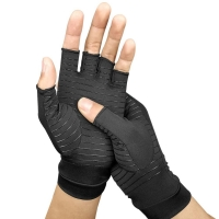 High quality 1 Pair Copper-coated Polyester fiber+Spandex Compression Gloves Sports Half Finger Breathable Elastic Recovery Hand