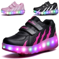 Colorful LED Flashing Double Roller Skate Shoes Glowing Roller Shoes Roller Skates Luminous Sneakers Women Light Up Shoes