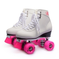 Women's Classic Retro 4 Wheels Quad Roller skates  skating shoe  pink wheels,white shoes Aluminum Plate,free shipping