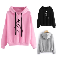 Women's Sweatshirt Long-Sleeved Hooded Girl Pink Top Heart Printed Skateboarding Hoodies Ladies Fitness Workout Tops Sportswear