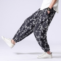 2019 linen men floral printed fashion men joggers trousers casual summer loose work sweatpa chinese style loose pant