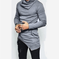 Unbalance Hem Pocket Long Sleeve Hoodies Mens Sportswear Basketball Jerseys Autumn Mens Turtleneck Sweatshirt Tops 5XL