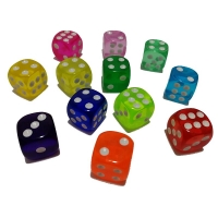 10PCS/Lot Drinking Dice 14MM Round Corner Clear Dices Colorful Board Game Dice Party Gambling Cubes Dados Digital Dices Cube