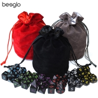 Opaque Black Polyhedral Dice 6 Sets and Drawstring Velvet Pouch for DnD RPG MTG Board Games D4 D6 D8 D10 D% D12 D20