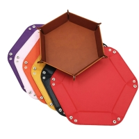8 Colors PU Leather Folding Hexagon Dice Tray Purple Dice Box For RPG DnD Games Dice Storage Case Dropshipping