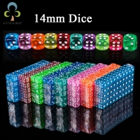 10pcs 14mm Clear Colorful Dice Transparent Dices for Board Game Bar Cambling Playing Rpg Game Club Party Accessories GYH