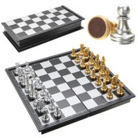Hot Sale Chess Game Silver Gold Pieces Folding Magnetic Foldable Board Contemporary Set Fun Family Board Games Gifts Christmas