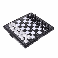 1set Mini Portable Chess Folding Magnetic Plastic Chessboard Board Game Kid Toy Entertainment Chess Games